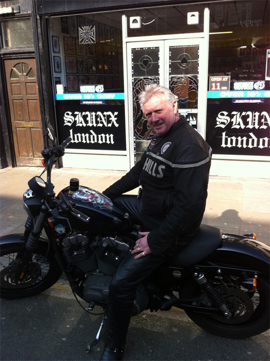 Graham and his bike at Skunx Tattoo