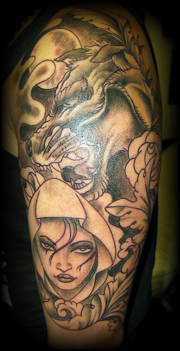 wolf red riding hood edit skunx tattoo. Black Bedroom Furniture Sets. Home Design Ideas